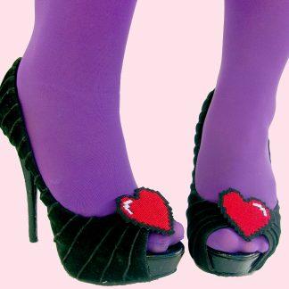 8 bit pixel heart shoe clips - kawaii hair candy
