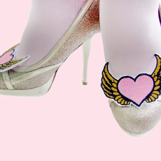 Pink Hearts with Gold Wings shoe clips