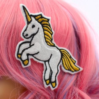 white unicorn hair clip