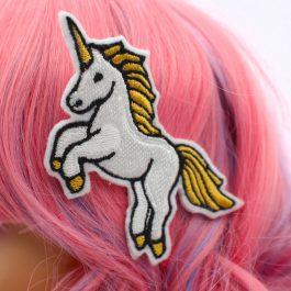 Unicorn Hair Clip for Girls – White & Gold