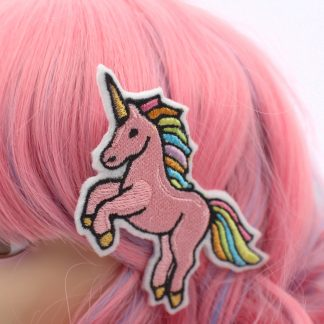 rainbow pink unicorn hair clip