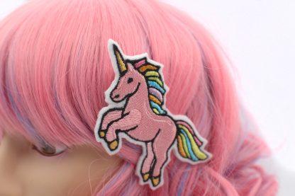 rainbow pink unicorn hair clip