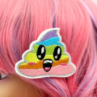 rainbow unicorn poop hair clips set