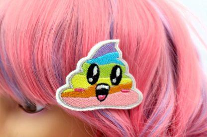 rainbow unicorn poop hair clips set