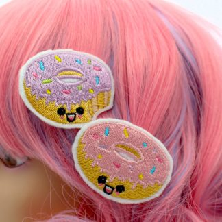 super cute kawaii donut hair clip set