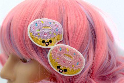 super cute kawaii donut hair clip set