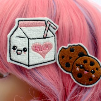 kawaii milk and cookie hair clip set
