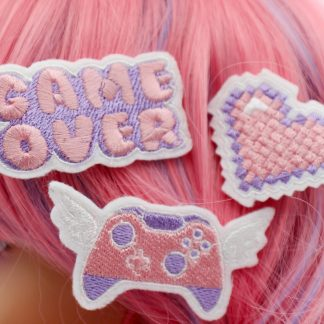 pastel gamer girl hair clip set