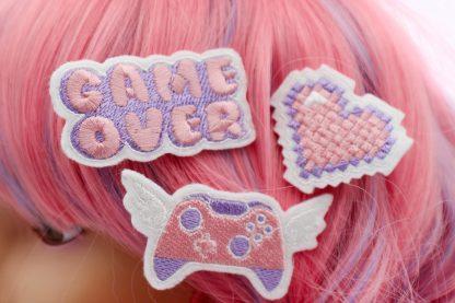 pastel gamer girl hair clip set