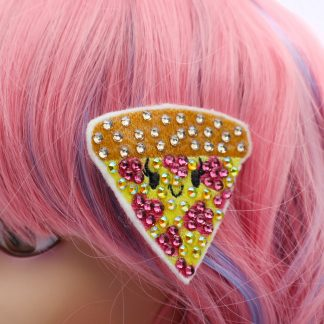 crystal kawaii pizza hair clip