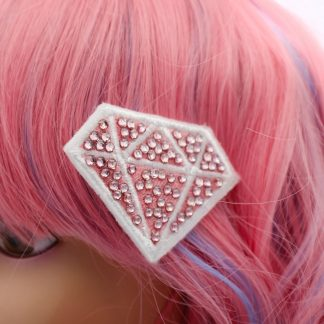 super cute kawaii crystal pink diamond hair clip set