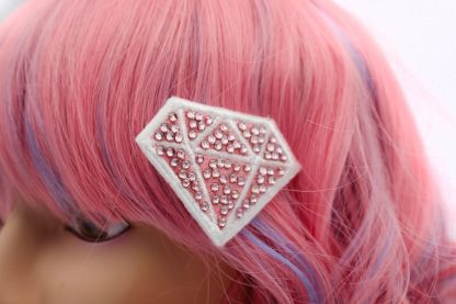 super cute kawaii crystal pink diamond hair clip set