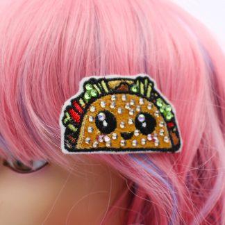 crystal kawaii taco hair clip