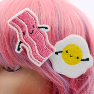 cute hair clips kawaii bacon and egg clip set