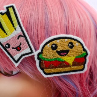 kawaii burger and fries hair clip set