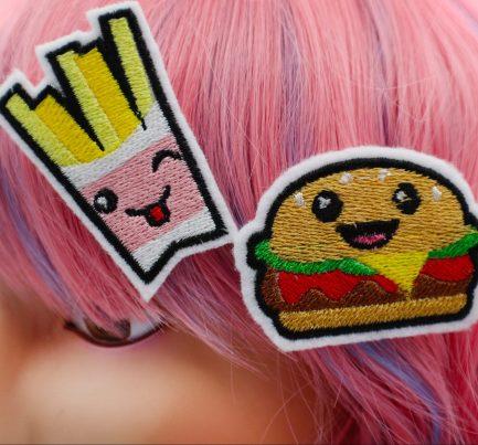 kawaii burger and fries hair clip set