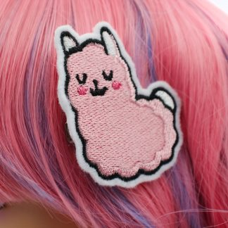 kawaii pink llama hair clips in pink