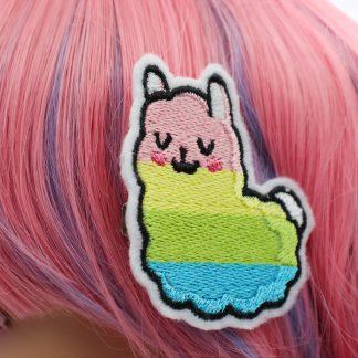 rainbow llama hair clip set