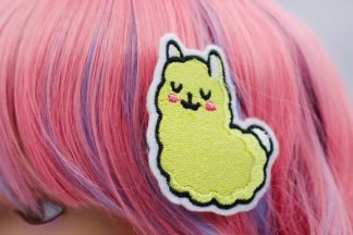 kawaii llama hair clips in yellow