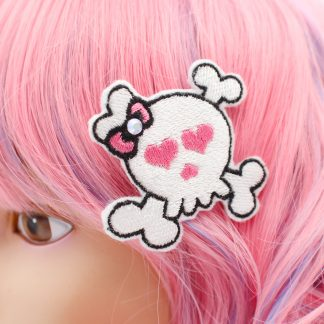 pastel goth skull hair clips set