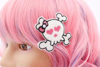 pastel goth skull hair clips set