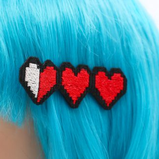 gamer life hearts hair clip set