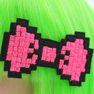neon pink pixel bow hair clip set