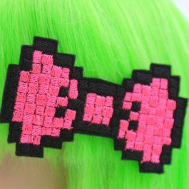 Neon Pink Pixel Bow Clip Set