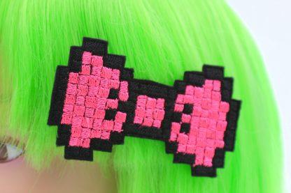 neon pink pixel bow hair clip set