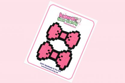 hot pink pixel hair bows