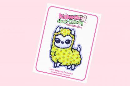 Kawaii Crystal Llama Hair Clip in Yellow
