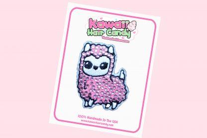 Kawaii Crystal Llama Hair Clip --- Pink
