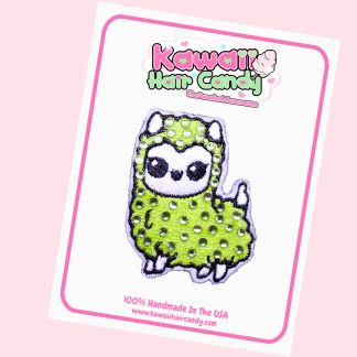 Kawaii Crystal Llama Hair Clip --- Green