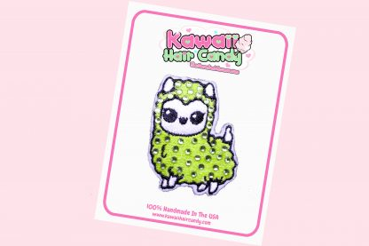 Kawaii Crystal Llama Hair Clip --- Green