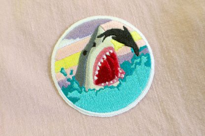 Great white shark iron on patch- pastel