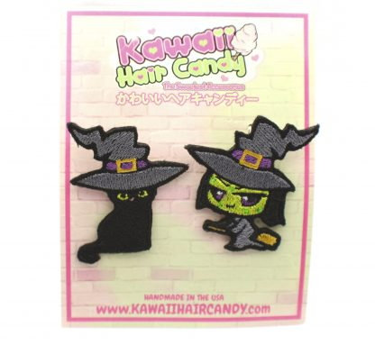 kawaii chibi witch and black cat hair clip set