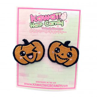 kawaii halloween jack o lantern hair clips