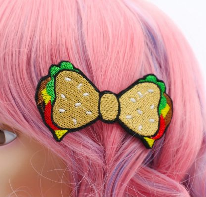 kawaii hamburger hair bow