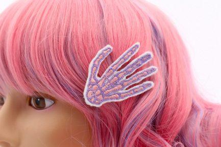 pastel goth skeleton hand hair clip set