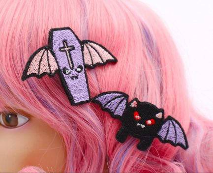 pastel goth winged coffin and black cat hair clip set