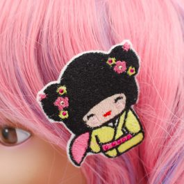 Kokeshi Doll Geisha Hair Clips for Girls Set