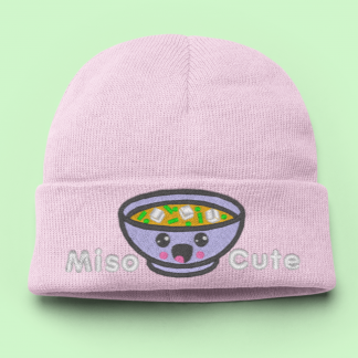 Pink Knit Hat Kawaii Miso Cute - Winter Hat by Kawaii Hair Candy