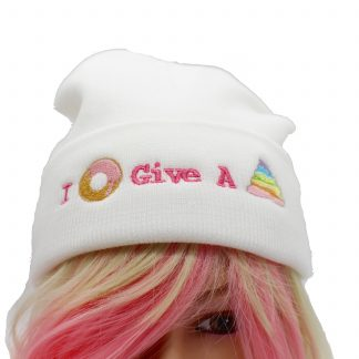 kawaii hat i donut give a poop in white