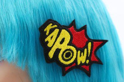 superhero bow Kapow! comic book hair clip