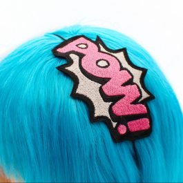 Superhero Headbands – POW Comic Book  – Pink and Silver