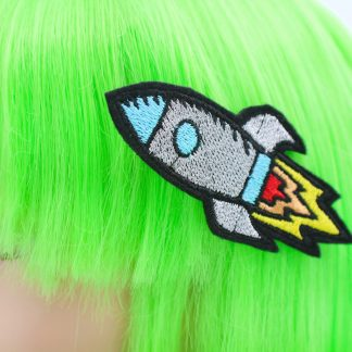 retro rocket ship Hair Clip