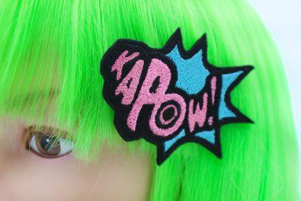 superhero hair bow kapow comic book hair clip