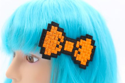 neon orange pixel bow