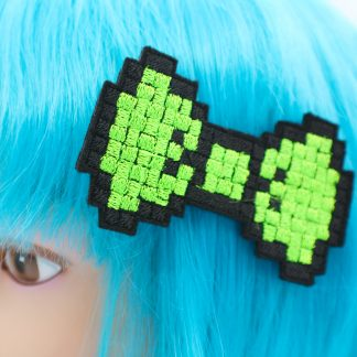 neon green pixel bow