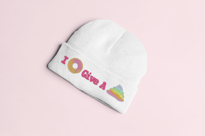 Kawaii Hat - I Donut Give A Poop Knit Beanie - White